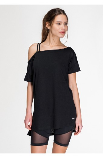 DONNA ASYMMETRICAL T-SHIRT, BLACK
