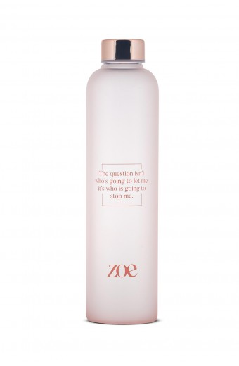 ZOE QUOTE GLASS BOTTLE, PINK, 750 ML