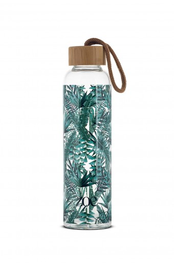 ZOE BAMBOO GLASS BOTTLE, TROPIC GREEN, 500 ML