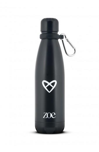 ZOE HEART LOGO STAINLESS STEEL BOTTLE, BLACK, 500 ML