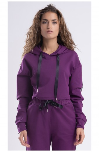 CROPPED HOODIE STRIPES, PURPLE